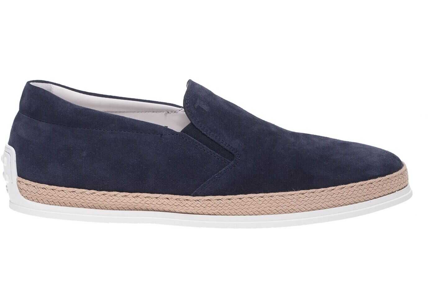 TOD'S Blue Leather Slip-On Blue