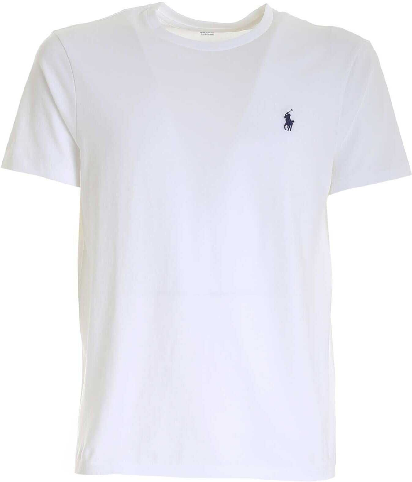 Ralph Lauren White T-Shirt With Blue Logo White