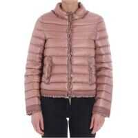 Geci de Puf Pink Down Jacket With Ruffles And Lace Femei