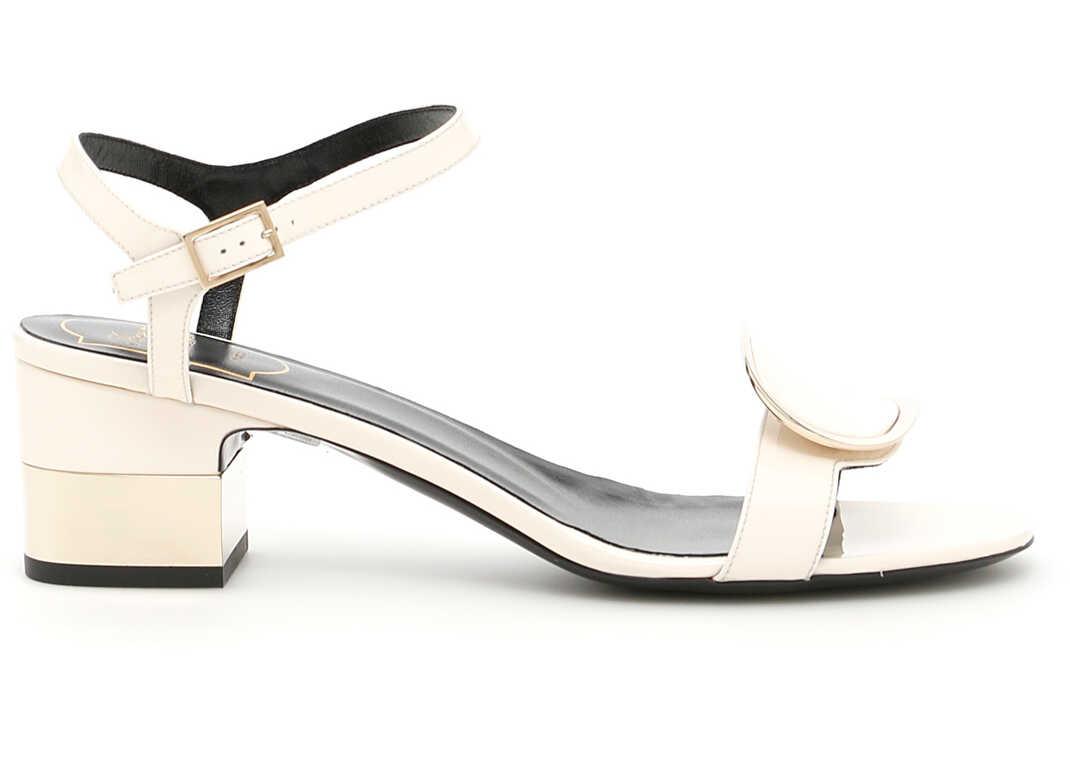 Roger Vivier Patent Chips West 50 Sandals OFF WHITE