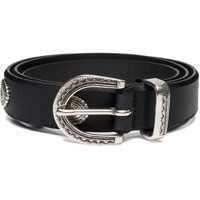 Curele Unisex Leather Black Belt With Oval Studs Femei