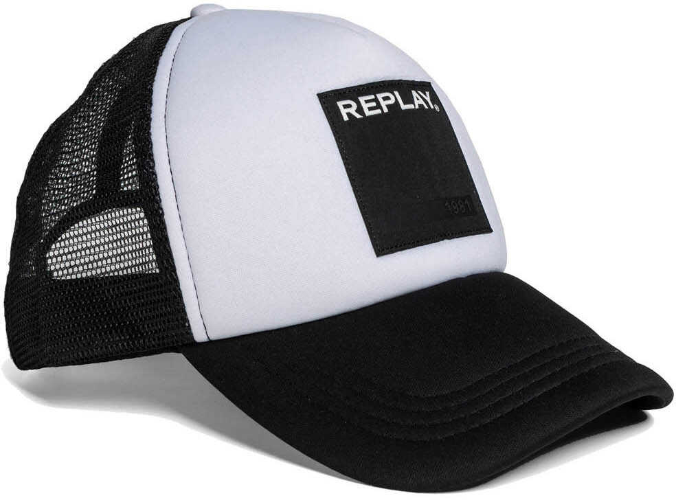 Replay Mens Black White Trucker Cap Optical White -Black