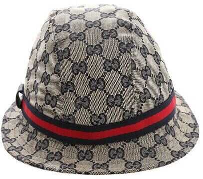 Gucci Beige And Blue Monogram Hat Beige