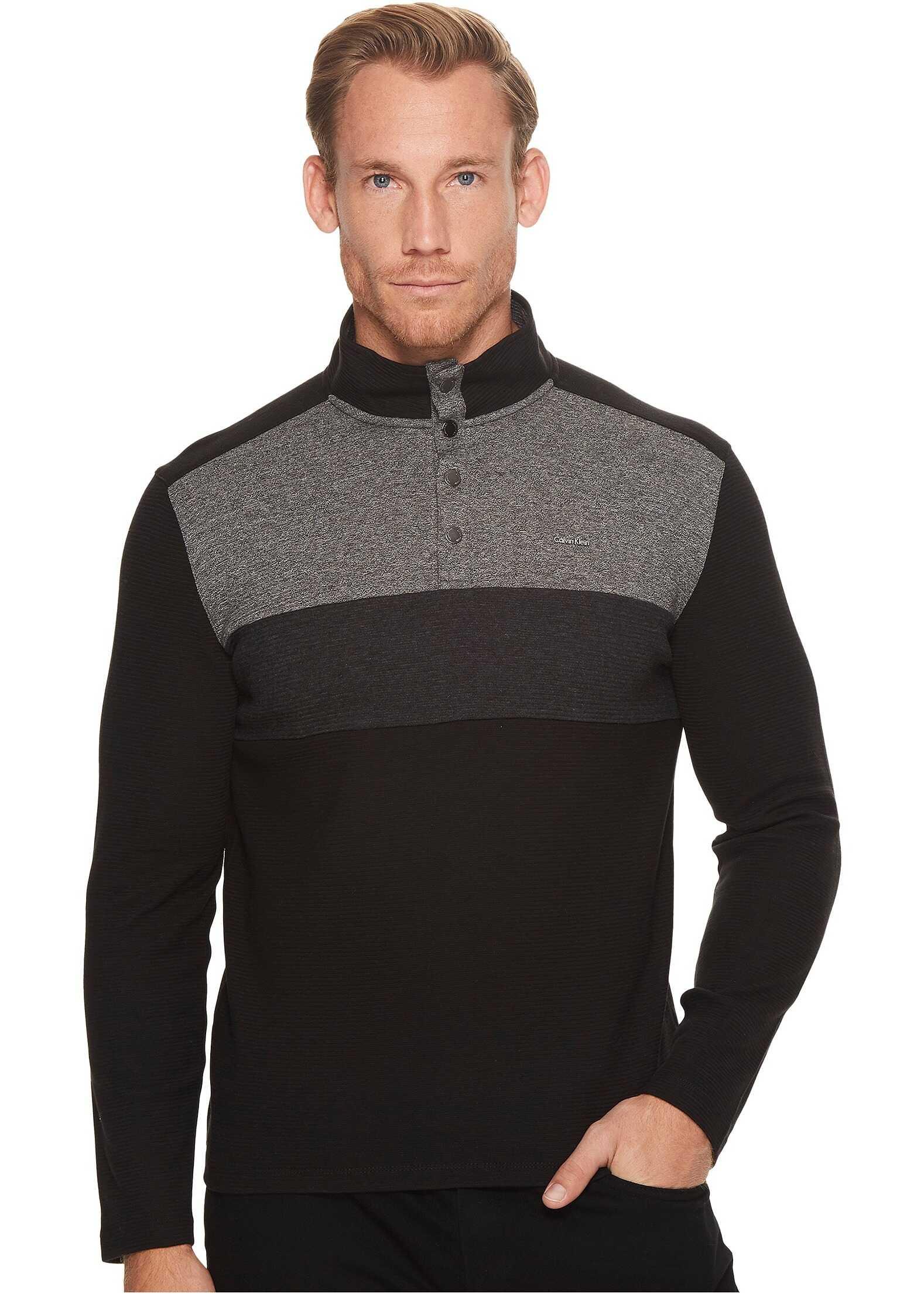 Calvin Klein Color Blocked Chest Stripe 1/4 Snap Knit* Black Combo