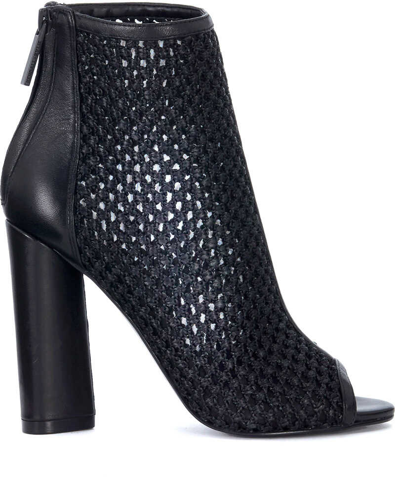 KENDALL + KYLIE Kendall+Kylie Galla Black Leather And Fabric Open Toe Ankle Boot Black