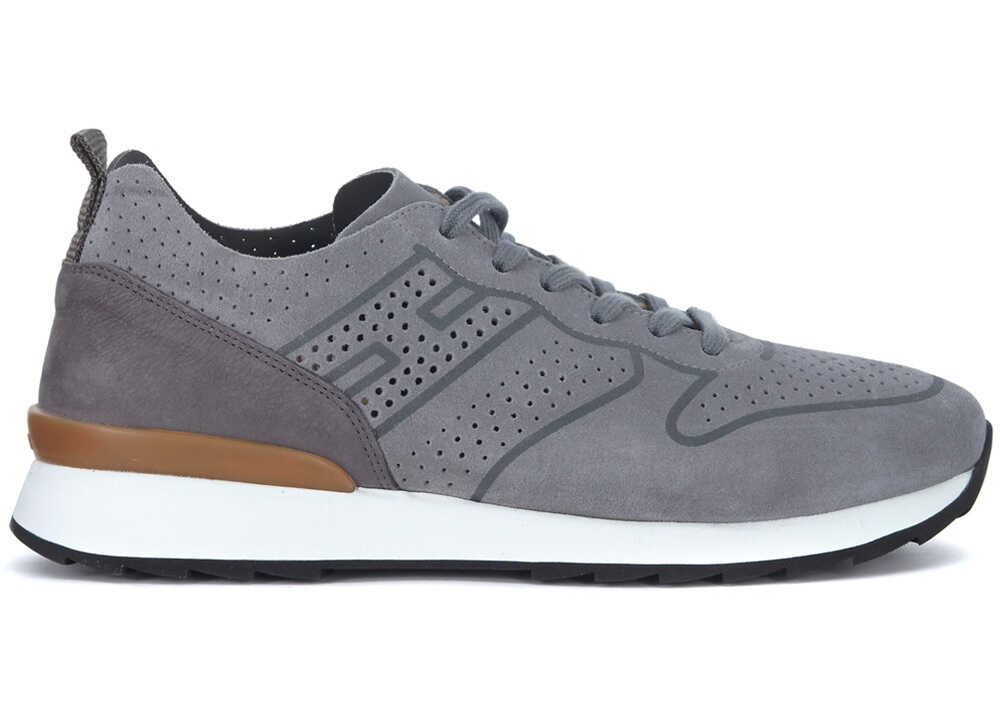 Hogan R261 Grey Pierced Suede And Nubuk Sneaker Grey