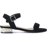Sandale Cashmere Black Leather Sandal With Pearls Femei