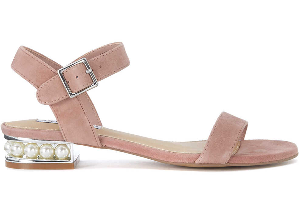 Steve Madden Cashmere Pink Leather Sandal With Pearls Pink
