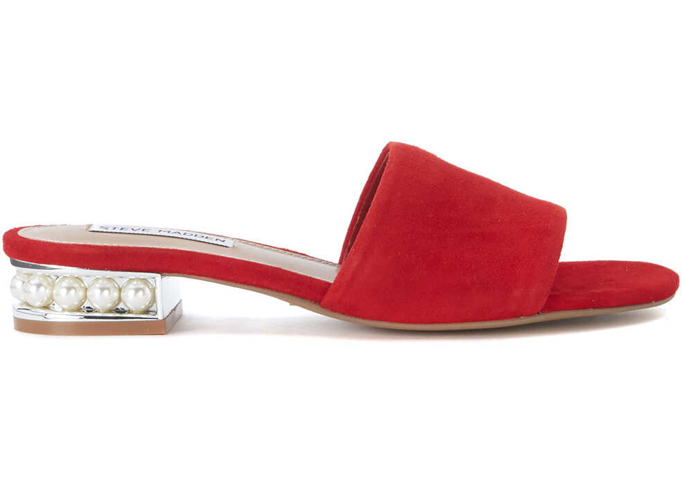 Steve Madden Costa Red Leather Sandal With Pearls Red