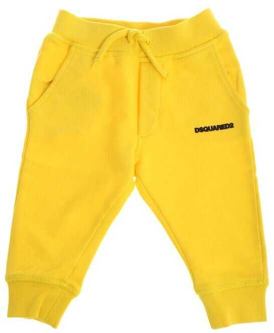 DSQUARED2 Yellow Cotton Trousers Yellow