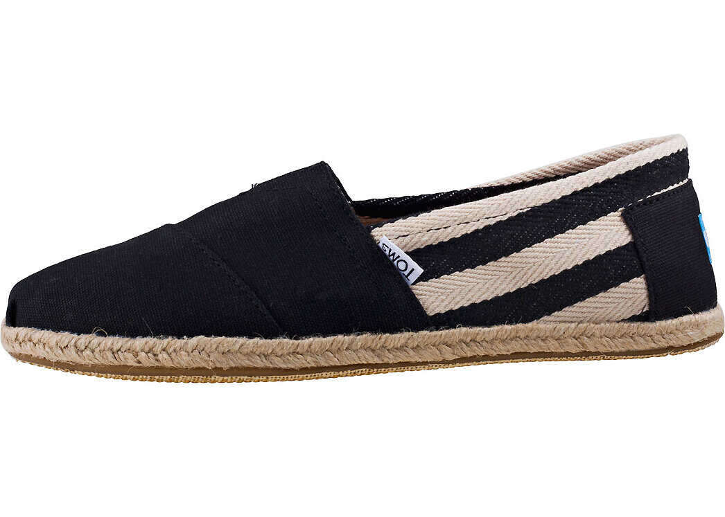 TOMS Classic Stripe University Slip On In Black White Black