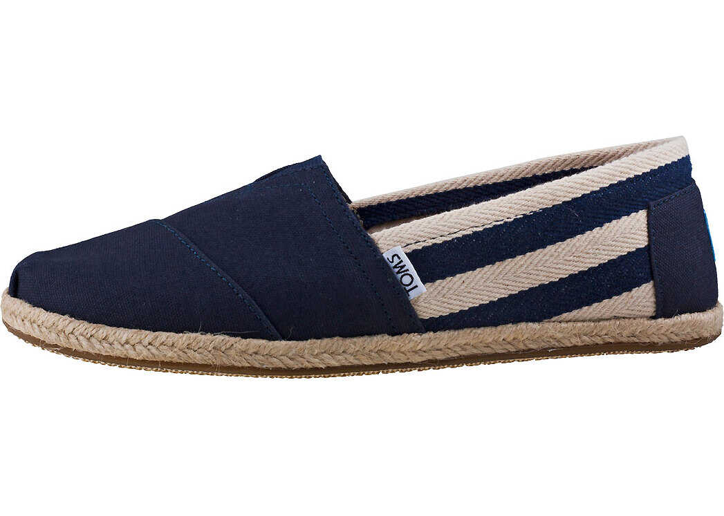 TOMS Classic Stripe University Slip On In Navy White Blue