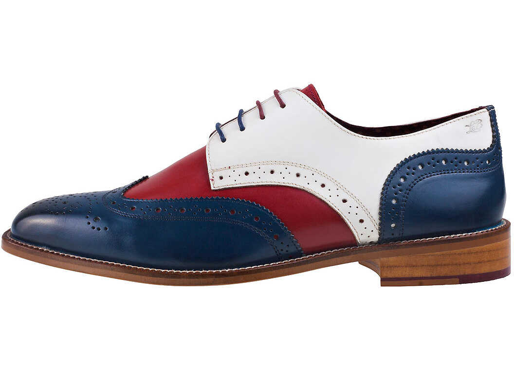 London Brogues Curtis Derby Shoes In Navy Red White Blue