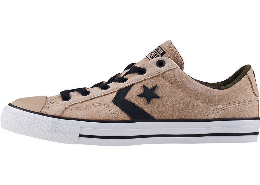 Converse Star Player Ox Trainers In Vintage Khaki Black Green