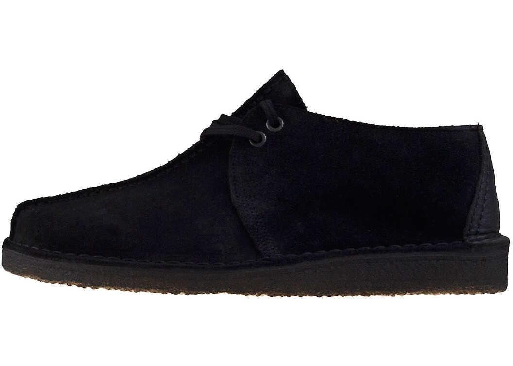 Clarks Desert Trek Shoes In Black Black