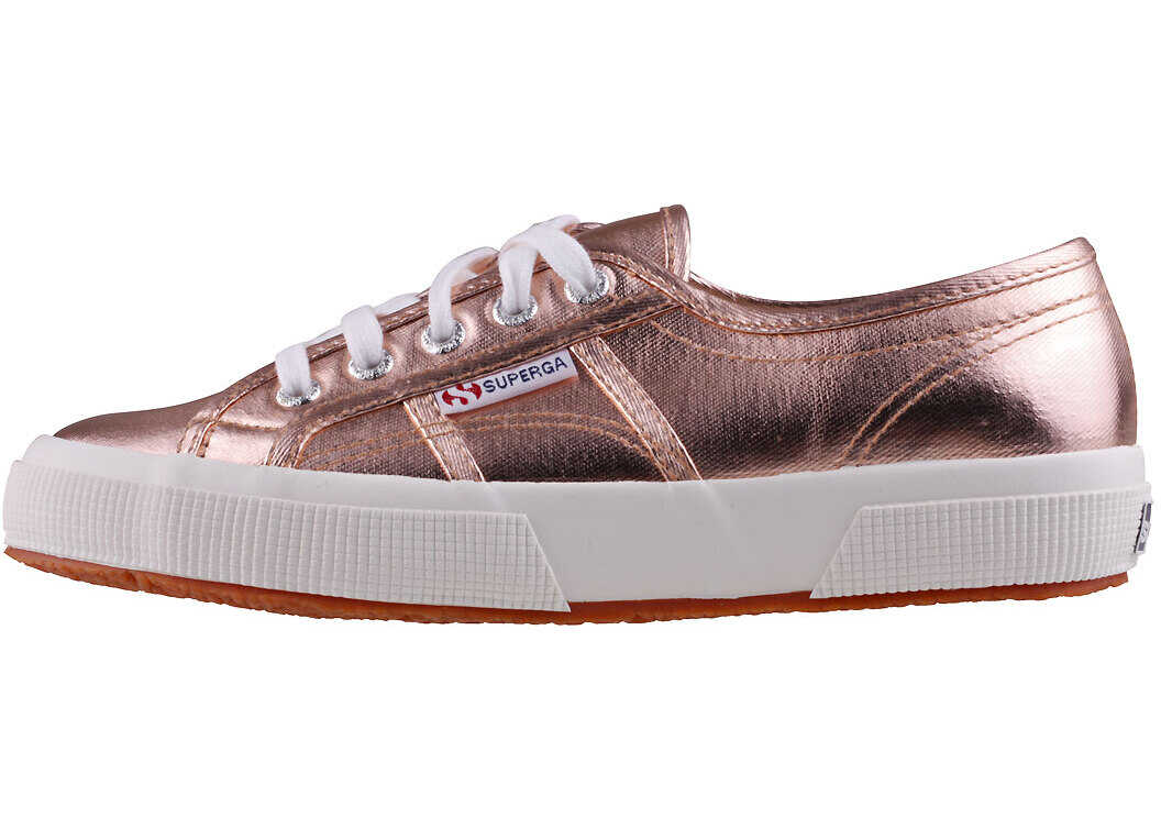Superga 2750 Metallic Trainers In Rose Gold Red