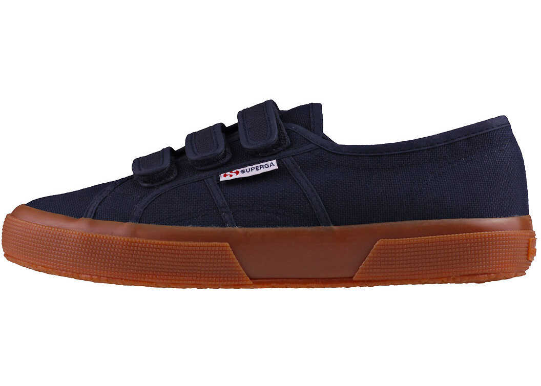 Superga 2750 3Strap Trainers In Navy Gum Blue