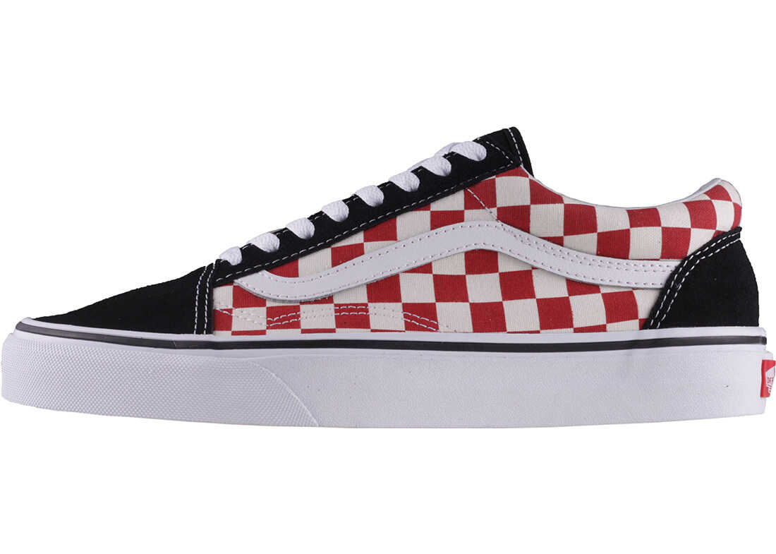 Vans Old Skool Checkerboard Unisex Trainers In Black White Red Black