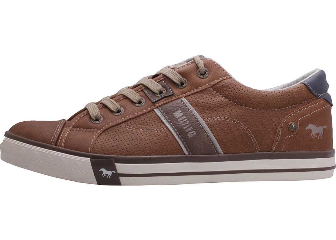 Mustang 3-Tone Perforated Low Trainers In Cognac Brown