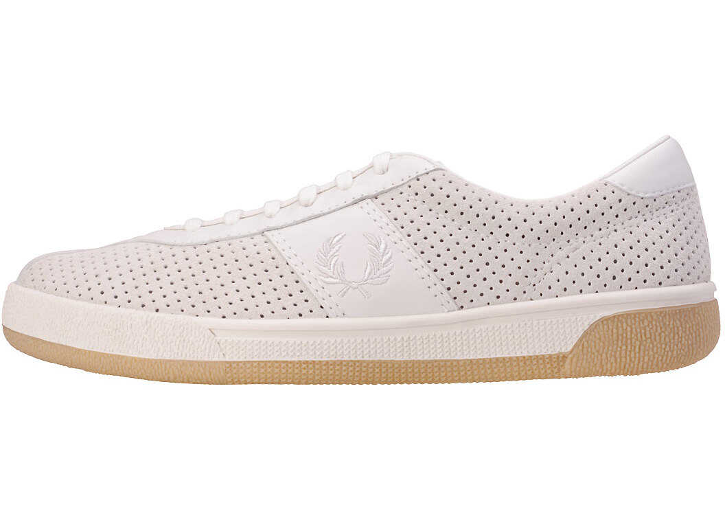 Fred Perry B1 Tennis Shoe Perf Trainers In Porcelain White
