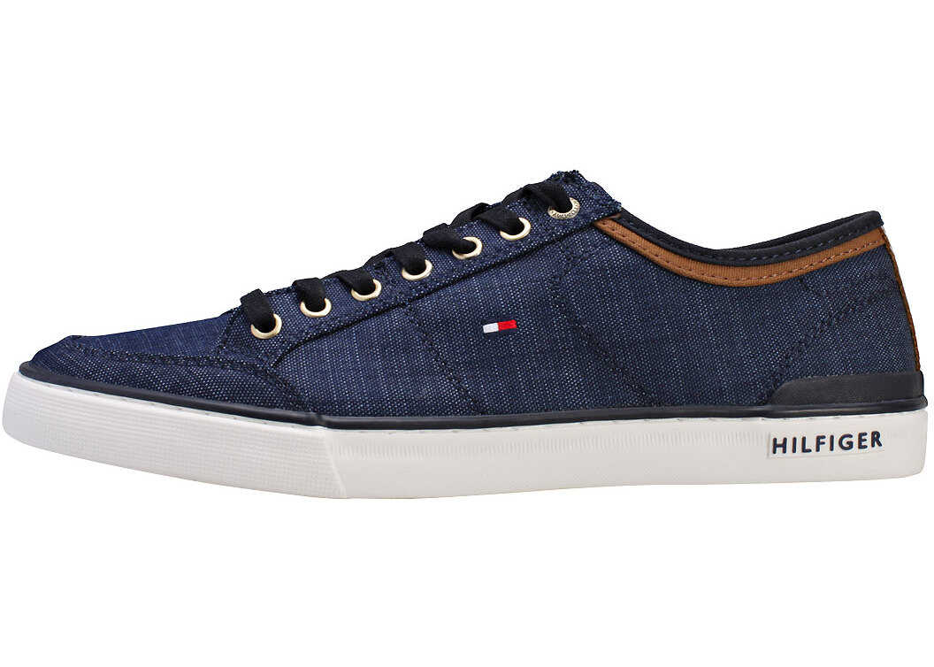 Tommy Hilfiger Core Material Mix Sneaker Trainers In Midnight Navy Navy