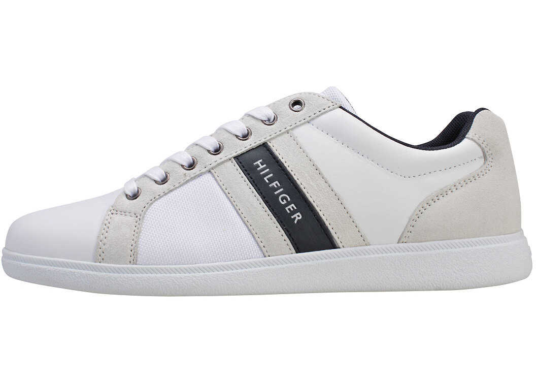 Tommy Hilfiger Core Material Mix Cupsole Trainers In White Navy White