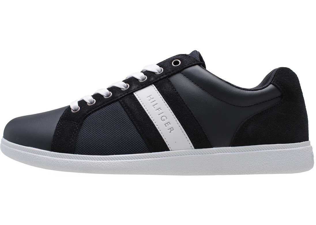 Tommy Hilfiger Core Material Mix Cupsole Trainers In Midnight Navy Navy