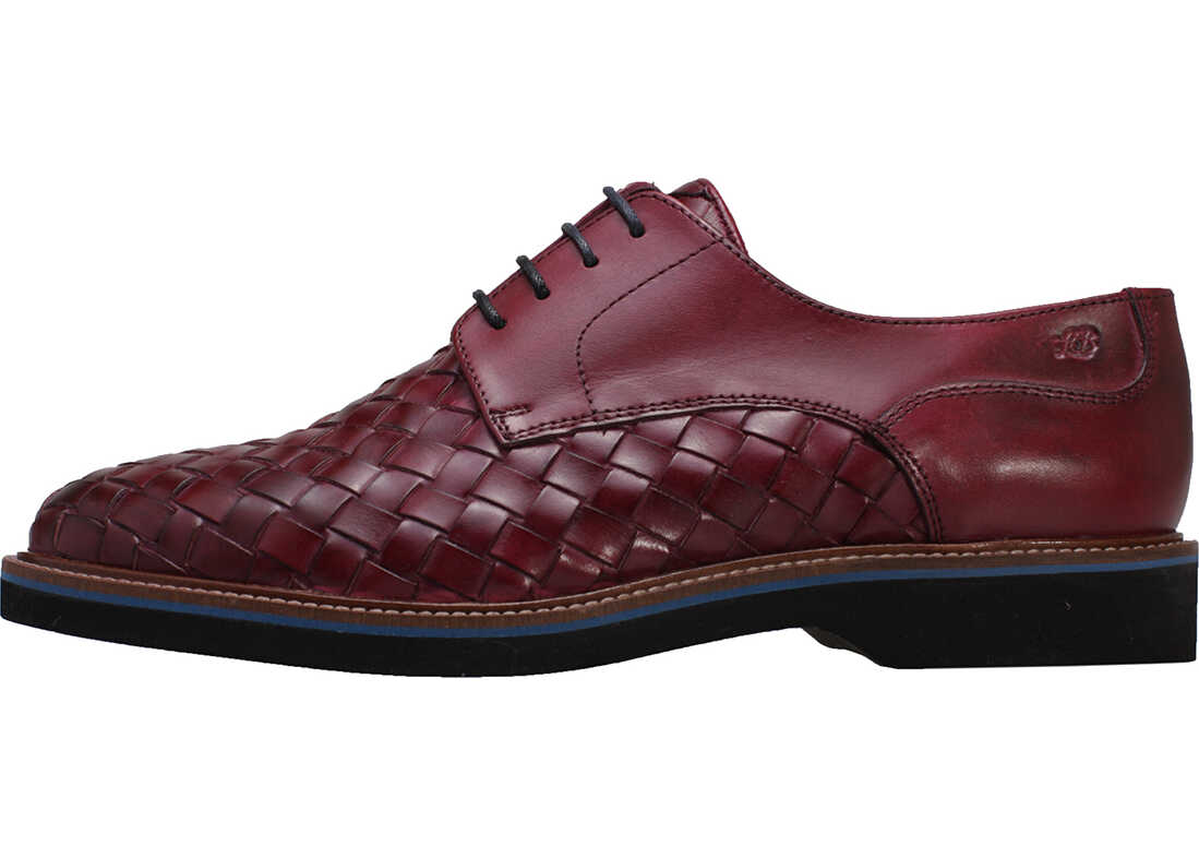 London Brogues Branson Woven Shoes In Plum Purple