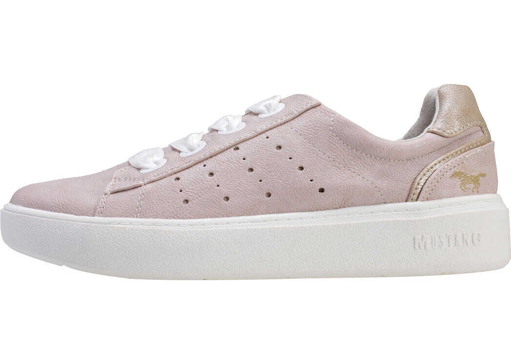Mustang Low Top Sneaker Trainers In Rose Pink