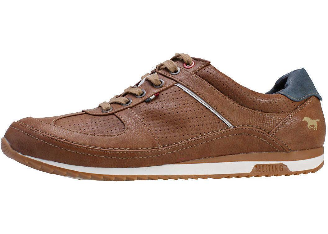 Mustang Low Top Perforated Sneaker Trainers In Cognac Brown