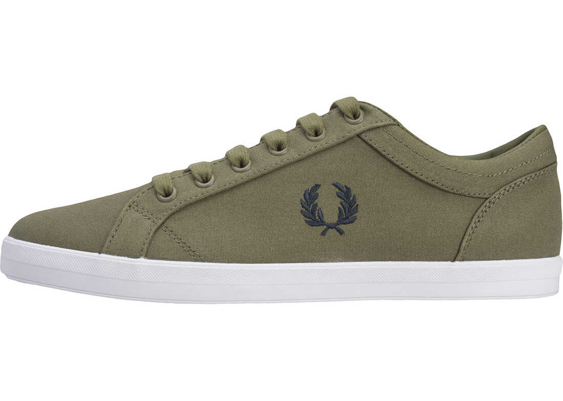 Fred Perry Baseline Trainers In Olive Olive