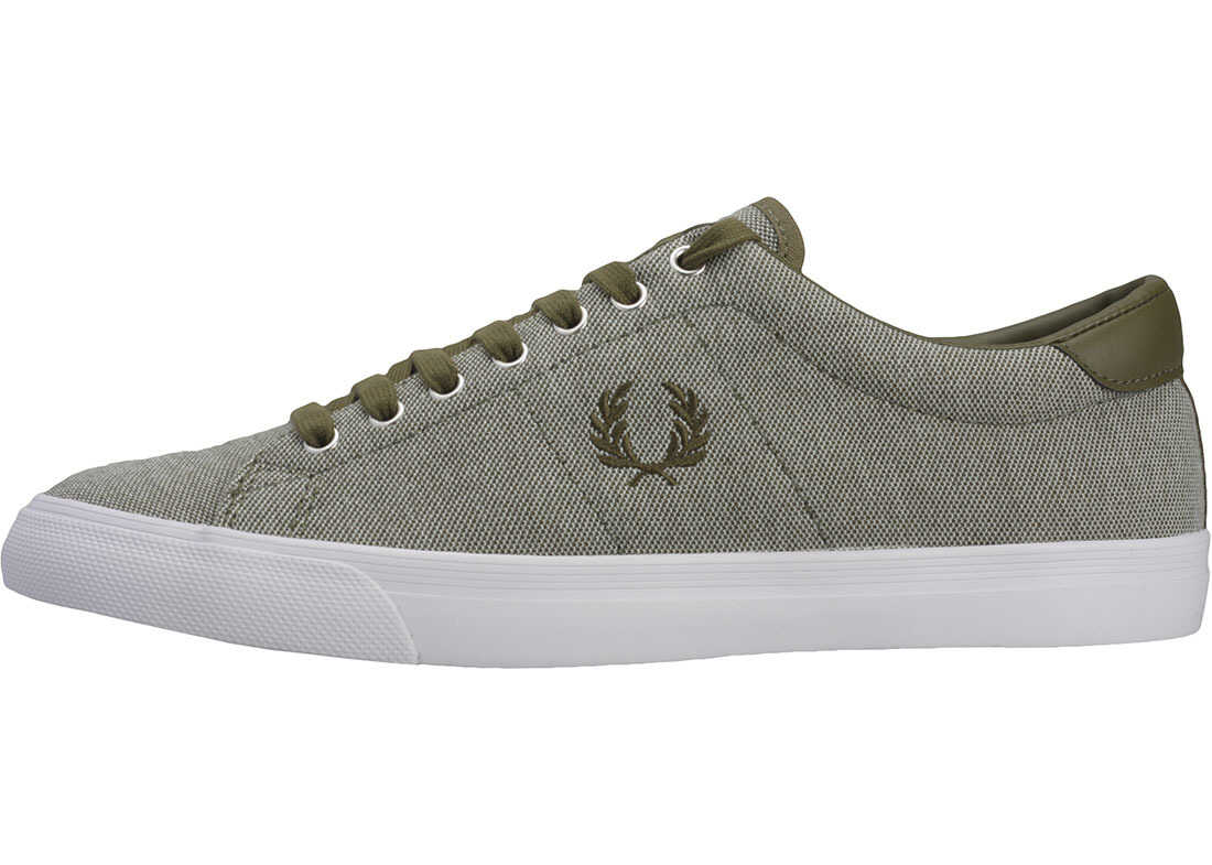 Fred Perry Underspin Pique Trainers In Olive Olive