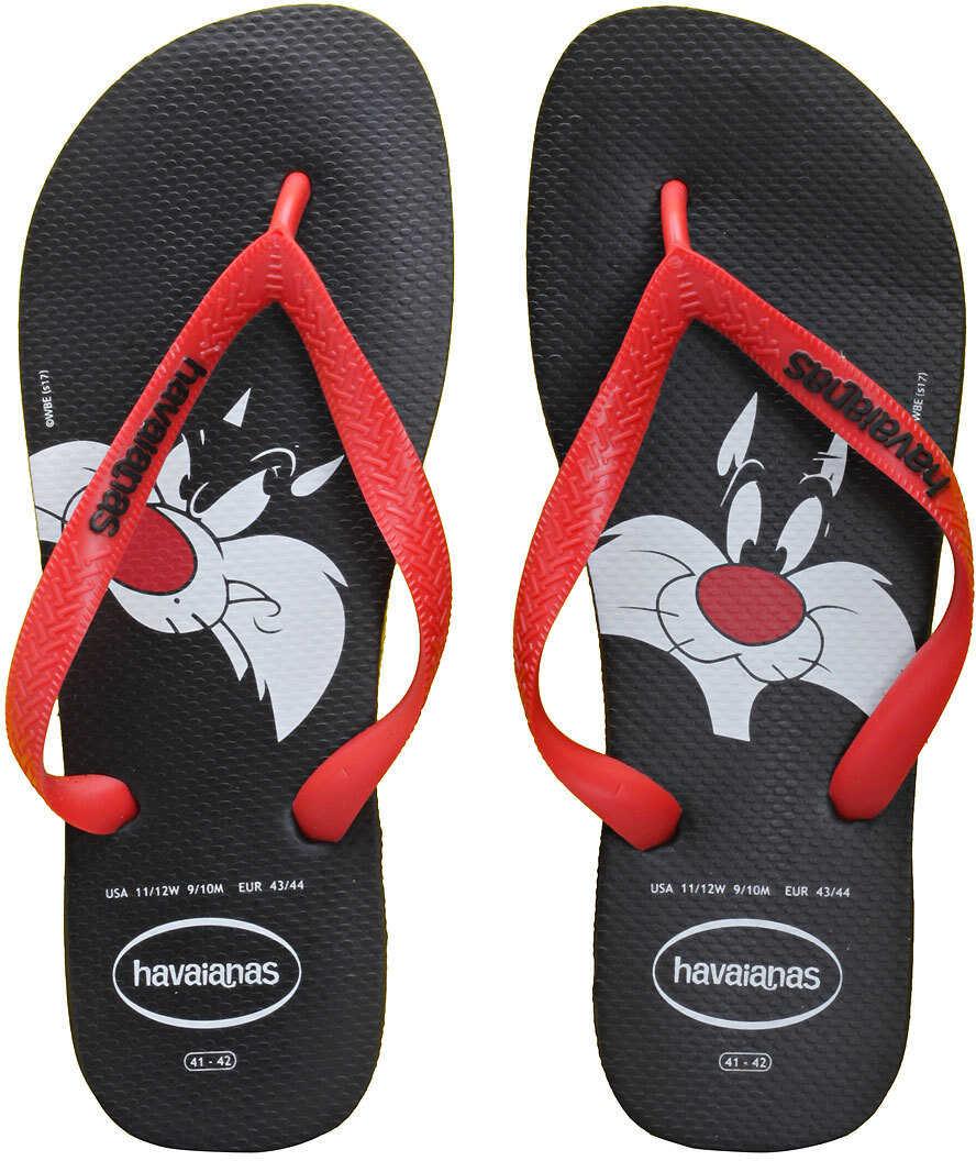 Havaianas Looney Tunes Flip Flops In Black Red Black