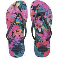 Slapi Slim Tropical Flip Flops In Black Multicolour Femei