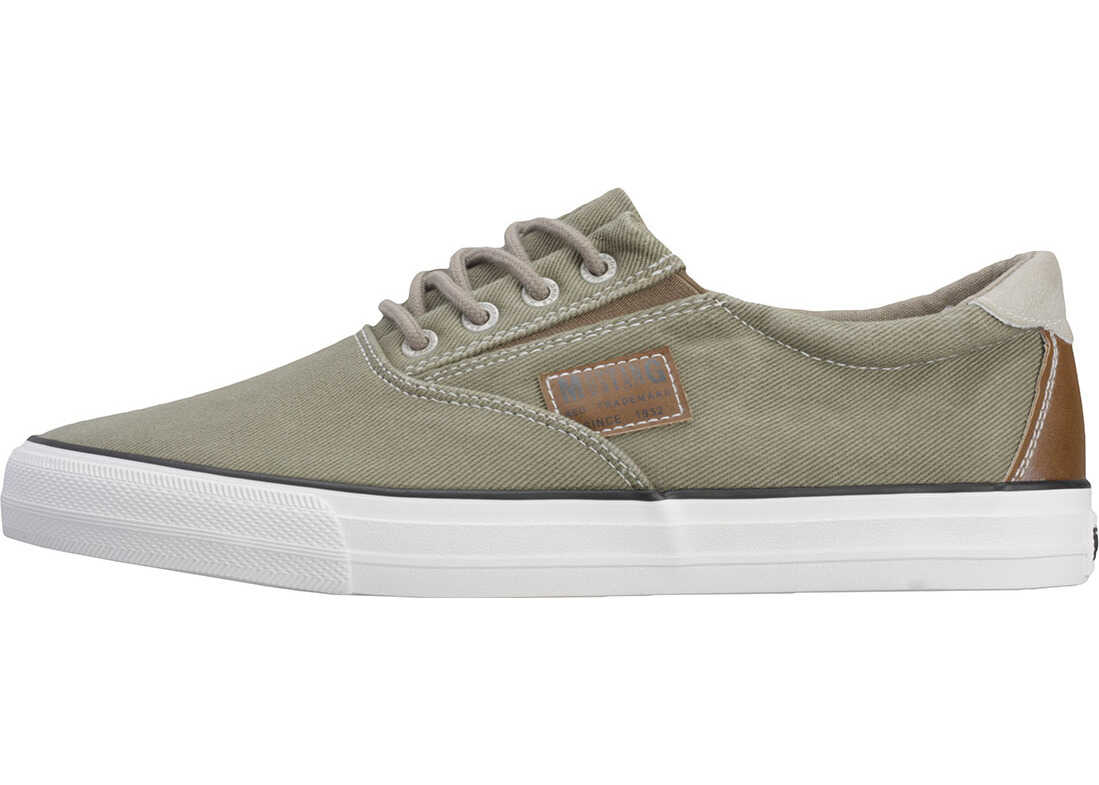 Mustang Lace-Up Low Top Trainers In Olive Olive