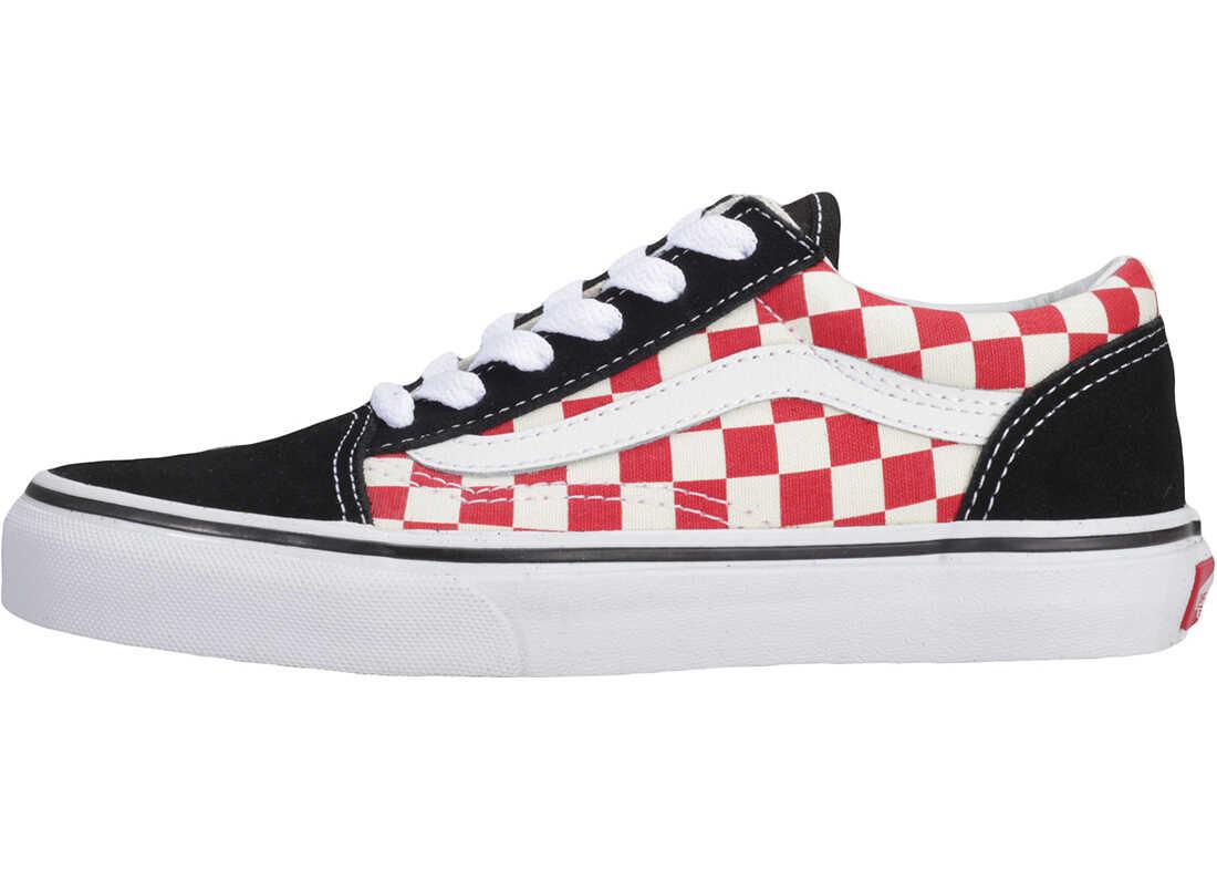 Vans Old Skool Checkerboard Kids Trainers In Black White Red Black