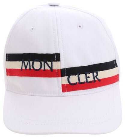 Moncler Kids White Logo Hat White