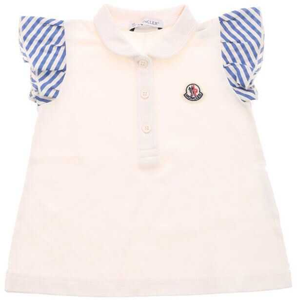 Moncler Kids Polo With White And Light Blue Inserts White