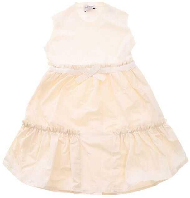 Moncler Kids Cream Color Dress With Knitted Top White