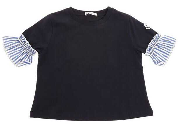 Moncler Kids Blue T-Shirt With Striped Inserts Blue