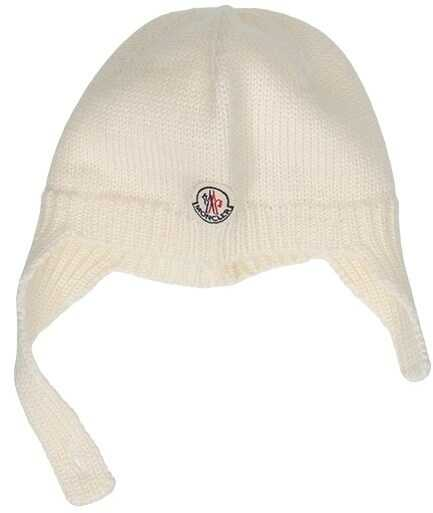 Moncler Kids Wool Cap White