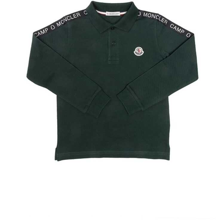 Moncler Kids Long Sleeved Polo Green