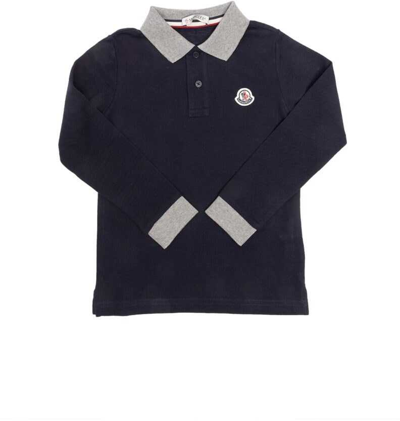 Moncler Kids Long Sleeved Polo Blue