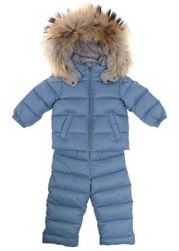 Moncler Kids New Mauger Padded Suit Light Blue