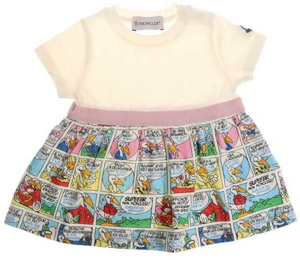 Moncler Kids White Dress With Cartoon Pattern Multi