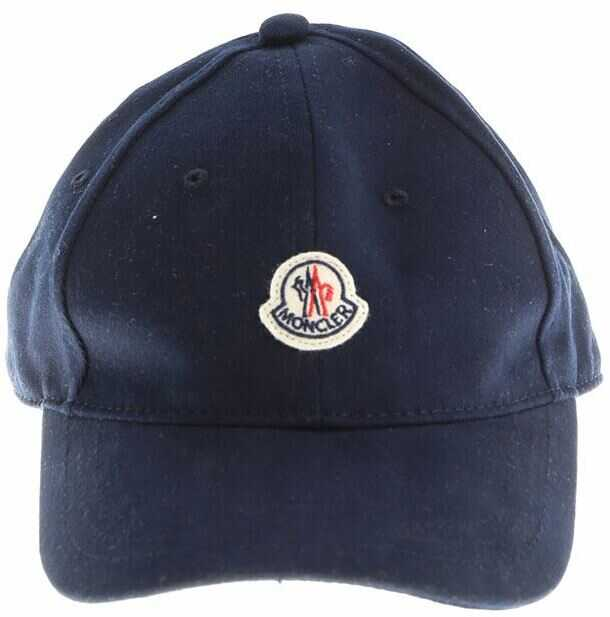 Moncler Kids Blue Hat With Front Logo Blue