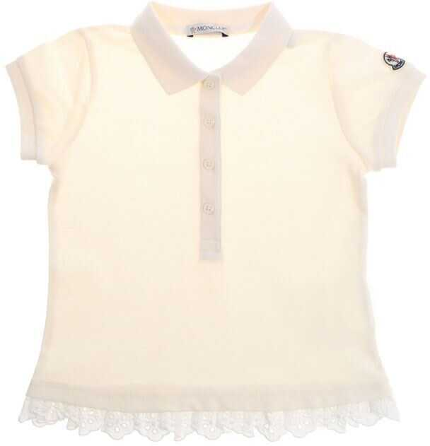 Tricouri Polo Fete Moncler Kids Cream-Colored Polo Shirt With Logo
