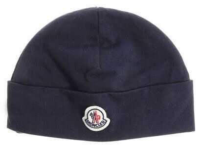 Moncler Kids Blue Cap With Front Logo Blue