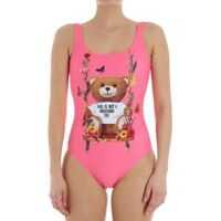 Costume de Baie Moschino Neon-Pink Swismsuit With Teddy Bear Print