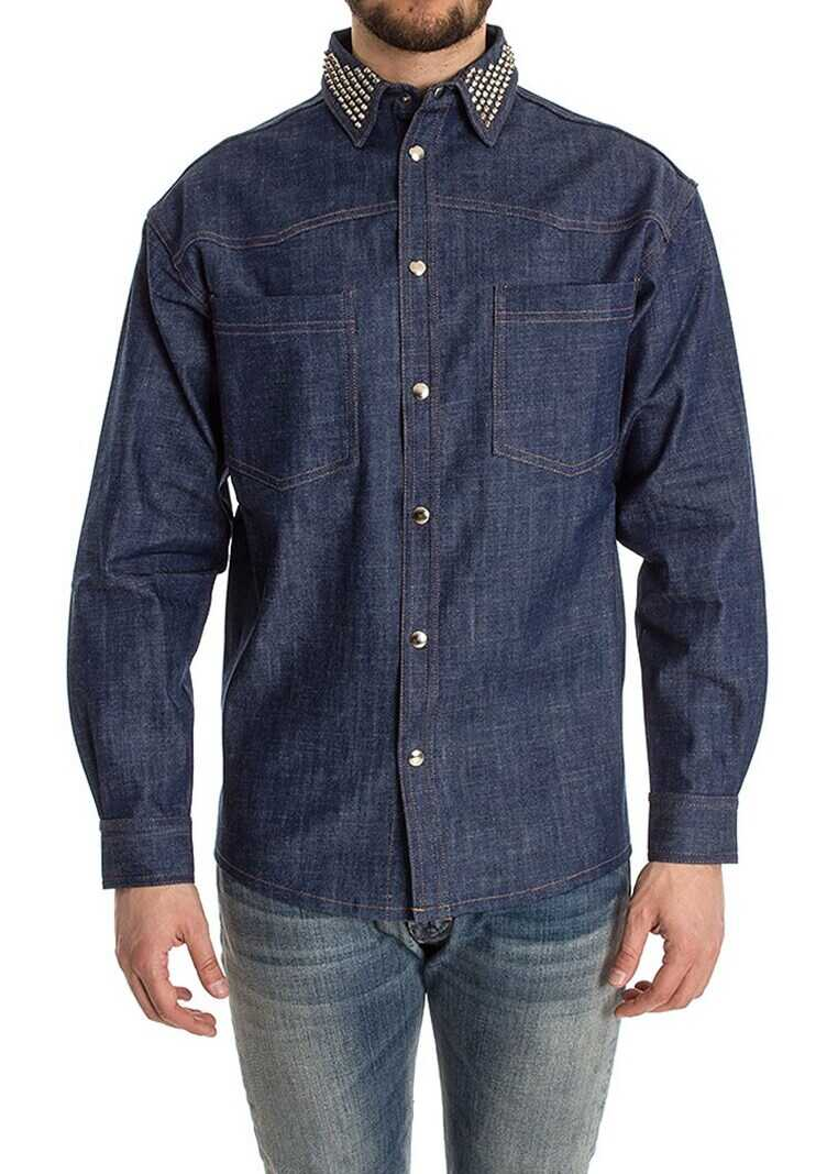 Ribbon Clothing Denim Shirt With Studs Blue imagine